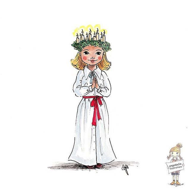 A little Lucia for today's celebration in Sweden and Scandinavia and day 13 of #illo_advent . Hope you had a wonderful day in the north ✨ #santalucia #luciatåg #celebration
