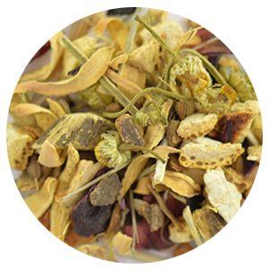 Item Code: 8347 Tummy Troubles, 2.65 oz (75 g)  Ingredients: Cinnamon, hibiscus blossoms, orange peels, peppermint leaves, licorice root, lemon peels, ginger pieces, chamomile blossoms, orange blossoms, fennel seeds, lemon balm, lemongrass, aniseed.