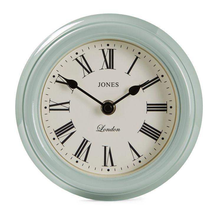 Jones Frankie Roman Numeral Duck Egg Blue Clock | B&Q