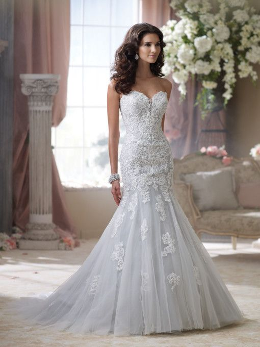 David Tutera - Strapless lace wedding dress, embroidered lace and tulle over memory taffeta trumpet wedding dress, deep sweetheart neckline features hand-beaded illusion modesty piece, delicately bead