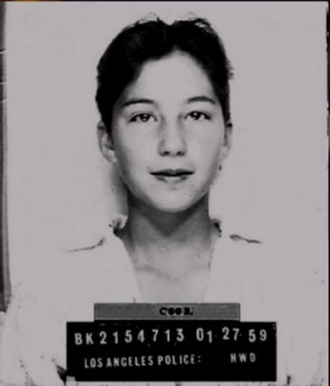 "A 13-year-old Cher in a mug shot    Apparently Cher was arrested when she was just 13 years old for ""borrowing"" her mom's car. Ha!"