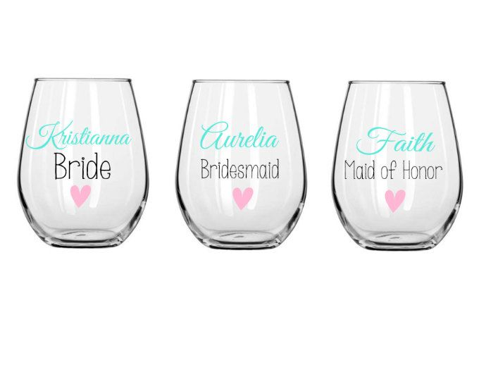 Bridesmaid wine glasses, bridal party glass, small wine glass, wedding gift, wedding party favor, personalized glass, stemless wine glass by ShopAroundTheCorner3 on Etsy