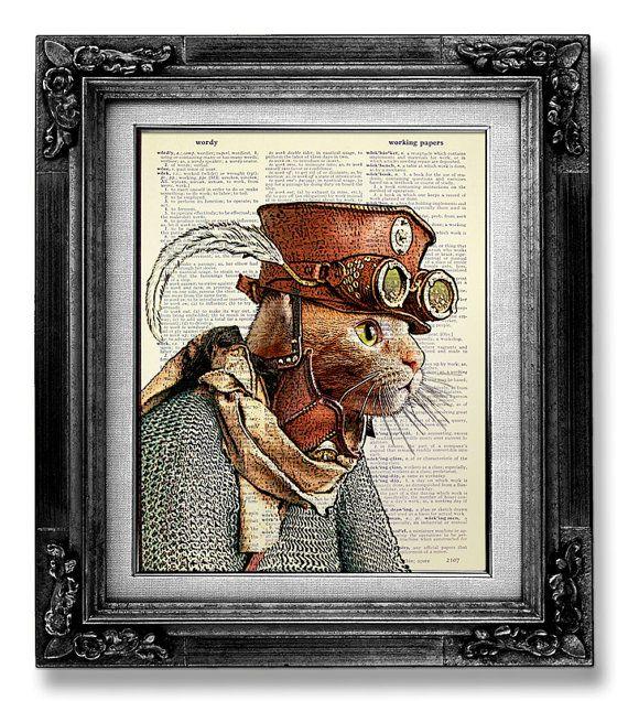 IMPRESIÓN del arte STEAMPUNK, Steampunk gato Decor, decoración Steampunk, gato Art Print sobre papel de diccionario, gato pared arte cartel ilustraciones, ropa Cool Cat