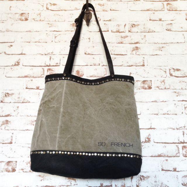 Grand sac à main vintage entièrement façonné à la main Toile coton et lin kaki délavée et toile de coton et lin noire