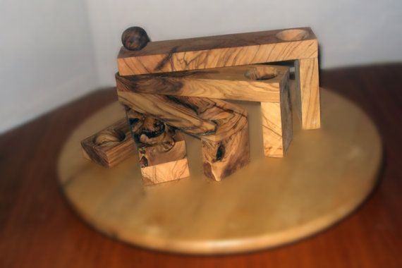 Olive Wood Rotating Candle Holder by FromTheHeartWoodMK on Etsy