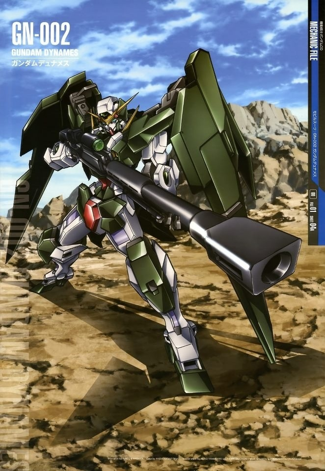 The GN-002 Gundam Dynames (aka Gundam Dynames, Dynames), is the long-range specialist Gundam in season one of Mobile Suit Gundam 00, piloted by Lockon Stratos. Dynames would later be redeveloped as GN-002RE Gundam Dynames Repair in A.D. 2314, briefly piloted by the second Lockon Stratos