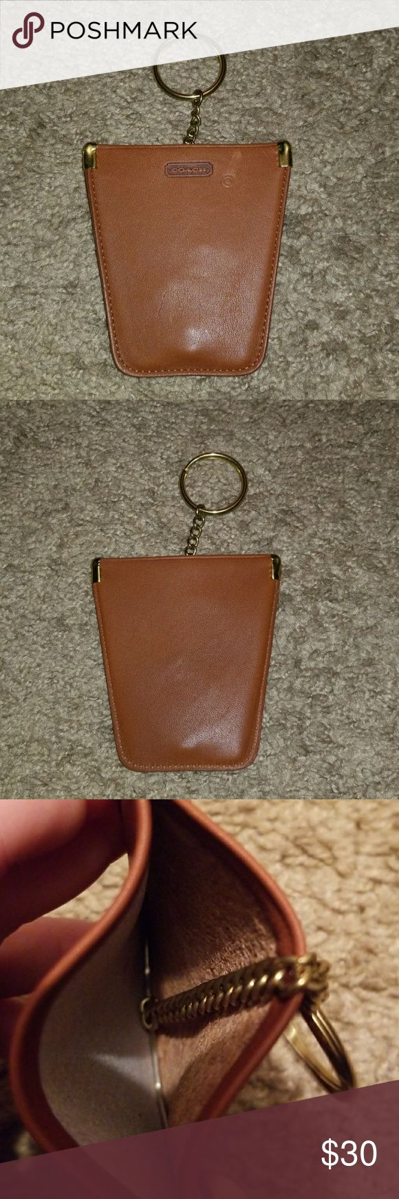"""Authentic Coach Brown Key Chain Item Unique key chain item. 3x4""""  there is 2 spots of wear if you call it that. This is still a cool item. Coach Accessories Key & Card Holders"""
