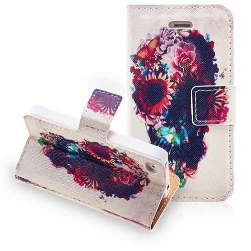 Fashion Skull Flowers iPhone 4 4S Leather Wallet Case #fashion #2014 #iphone4 #case #leather #case #cellz #covers