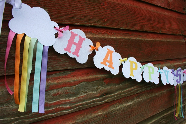 Sparkling Rainbow Party Banner in Pastel ribbon streamers and cloud pennants. $26.95, via Etsy.