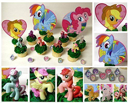 MY LITTLE PONY 14 Piece Birthday CUPCAKE Topper Set Featuring 8 Random My Little Pony Figures and Th @ niftywarehouse.com #NiftyWarehouse #MyLittlePony #Cartoon #Ponies #MyLittlePonies