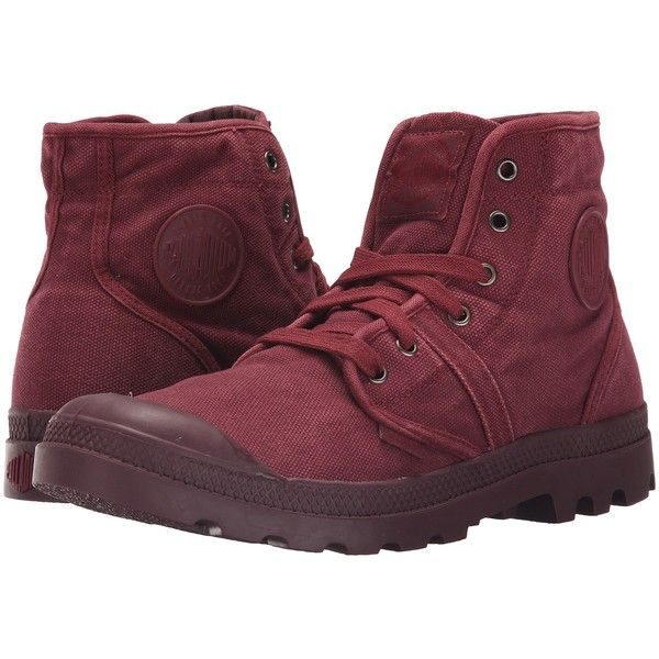 Palladium Pallabrouse (Cabernet/Vineyard Wine) Men's Lace-up Boots ($50) ❤ liked on Polyvore featuring men's fashion, men's shoes, men's boots, red, palladium mens boots, mens vintage shoes, mens leopard print shoes, mens platform shoes and mens vintage lace up boots