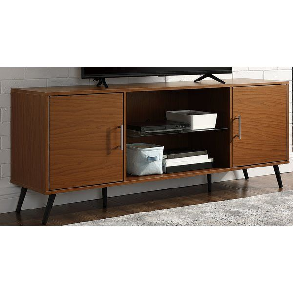 Glenn Tv Stand For Tvs Up To 65 Glass Shelves Modern Furniture Living Room Tv Stands And Entertainment Centers