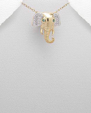 Přívěsek slona se smaragdy a 1 diamant