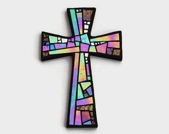 """Cruz de pared de mosaico, negro con vidrio iridiscente + textura + espejo de plata, mosaico de vidrio hecho a mano Cruz decoración de la pared, 12 """"x 8"""""""