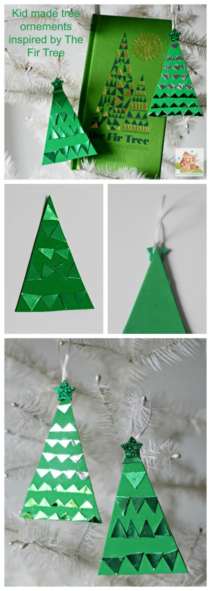 Kid made Christmas tree decorations inspired by The Fir Tree. These are so simple and easy to make and look fab