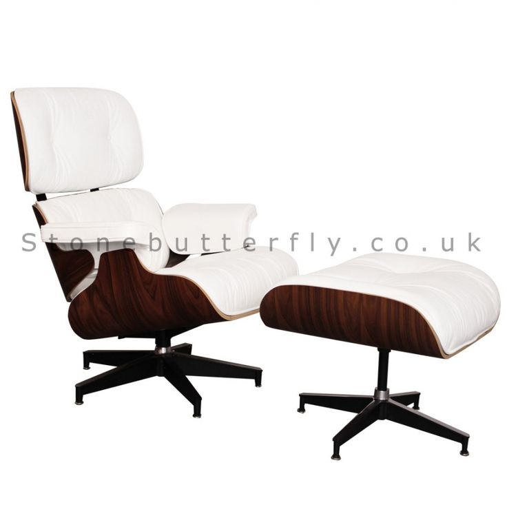 Eames Style Lounge Chair and Ottoman - Rosewood & White Leather