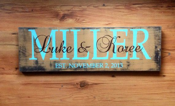 Personalized Family name sign. Family established sign. wedding established sign
