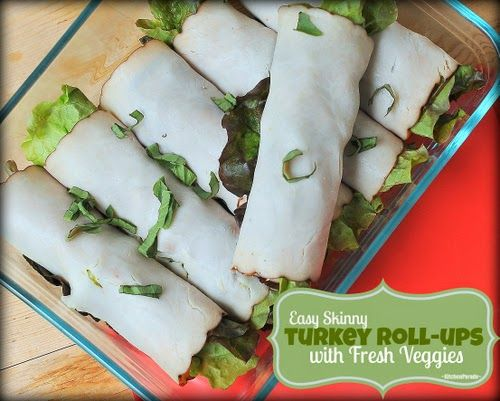 Easy Skinny Turkey Roll-ups with Fresh Veggies, just deli turkey, honey mustard, veggies. Low-carb, just 50 calories, one Weight Watchers point.