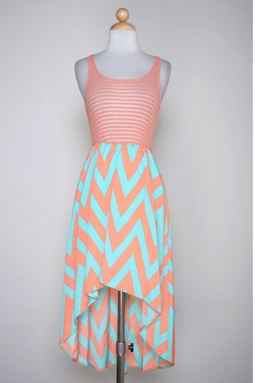 Love love love: Fashion, Coral, Summer Dress, High Low Dresses, Style, Cute Dresses, Chevron