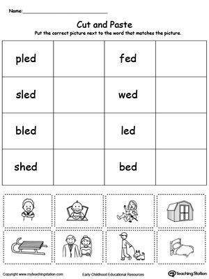 *FREE* ED Word Family Match Picture with Word Worksheet.