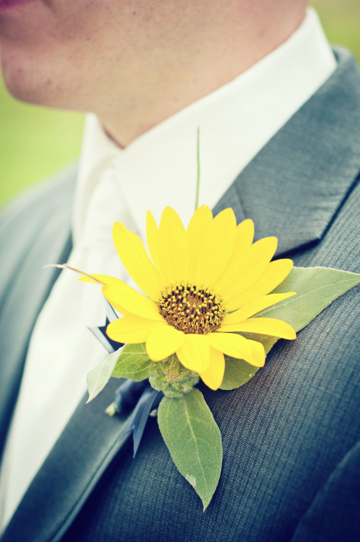 Love The Sunflower With The Charcoal Suit Photo By Sarah