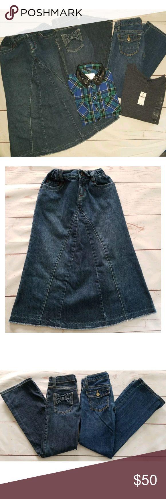Sz 8 Girls 5 Piece Lot Jeans, Shirts & Skirt 5 Piece Lot Jeans, Shirts & Skirt  One NEW WITH TAG!  Gap Kids Boot Cut Jeans, Dark Wash, Adjustable Waist, 100% Cotton, Size 8   Gymboree Boot Cut Jeans, Dark Wash, Adjustable Waist, Cotton Blend, Size 8  Gap Kids Long Denim Skirt, Dark Wash, Mid Calf, Adjustable Waist, 100% Cotton, Size 8  Gap Kids Gray, Long Sleeve, Crew Neck, Tee Shirt, Cotton Blend, Size Medium 8 NWT  Justice Blue, Green & Black Plaid, Long Convertible Sleeve Shirt/Blouse…