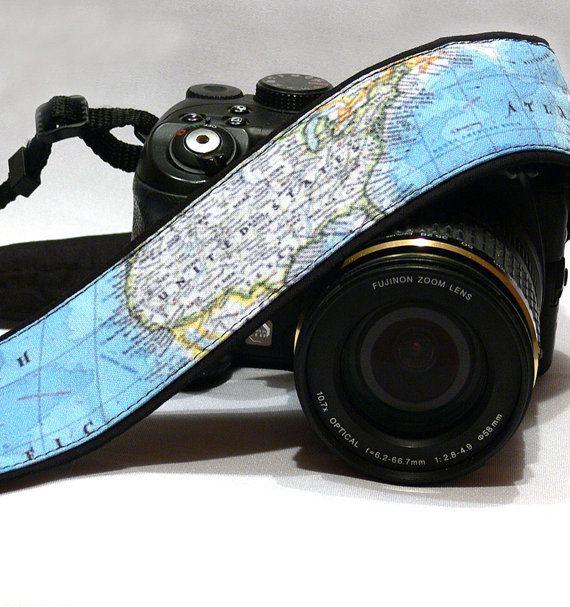 Courroie de l'appareil. Monde carte courroie par CameraStraps4You