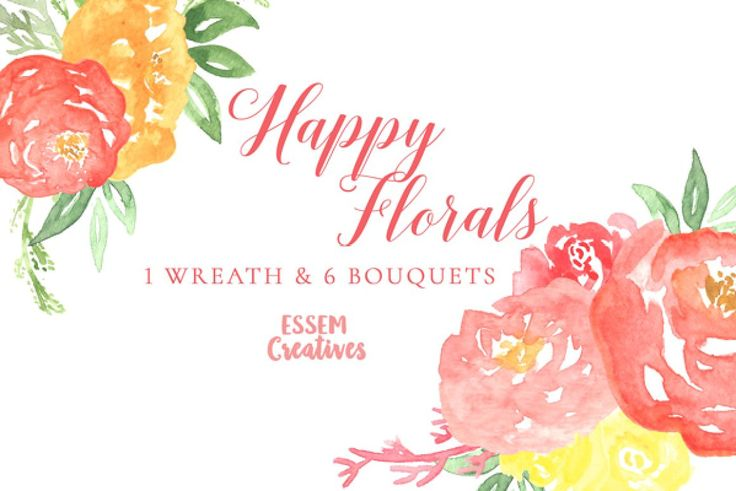 Watercolor Florals Clipart Set