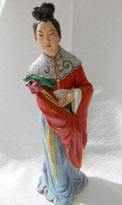 "Vintage Large 16"" tall Chinese Figurine Woman Ceramic Orange Signed handpainted"