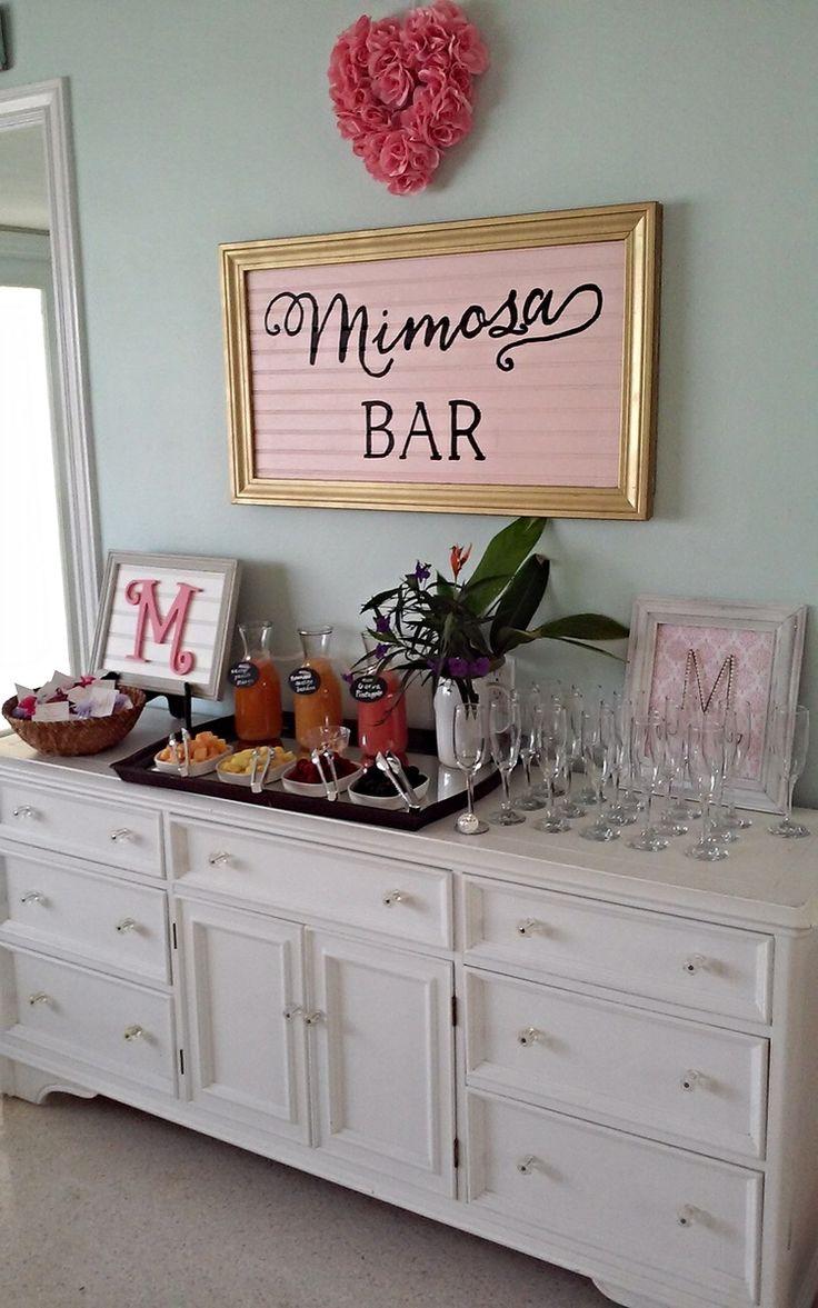 Mimosa Bar! Mimosas and moonshine bridal shower