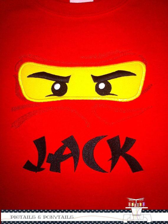 Ninjago mask embroidered shirt by PigTailsnPonyTails on Etsy, $20.00