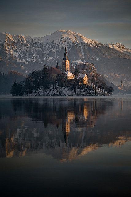Winter sunrise at Lake Bled, Slovenia, Assumption of Mary Pilgrimage Church