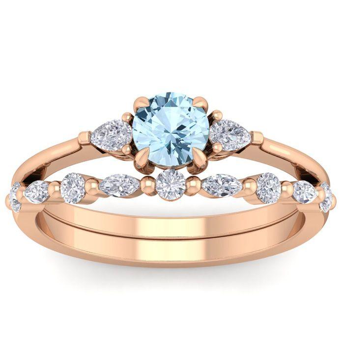 Aquamarine Ring March Birthstone 7 8 Carat Aquamarine And Diamond Antique Style Bridal Set In 14 Karat Rose Gold Superjeweler In 2020 Rose Gold Diamond Bridal Sets Bridal Ring Set