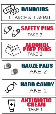 This roll a first aid kit is such a fun girls camp certification idea or even for girl scouts! Such a fun way to teach what goes in a basic first aid kit certification.