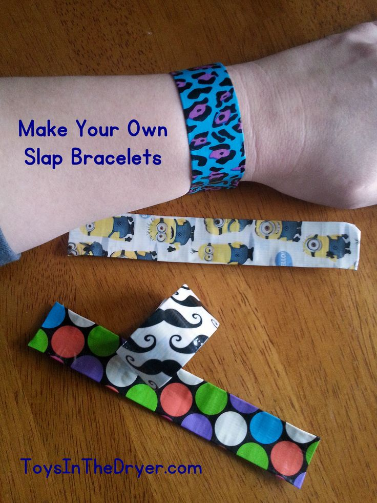 I don't know about your kids but my girls love slap bracelets. I too, loved them as a kid and still think they are fun now. Today I'm going to show you how to make your own slap bracelet using three simple things: duct tape, a measuring tape, and scissors. For those of you who can n