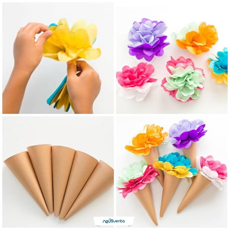 ¡Una forma divertida de decorar la fiesta de cumpleaños de tu pequeño! Necesitas: papel globo (varios colores), papel kraft, tijeras, hilo o cuerda y silicona. Recorta el papel globo en 6 rectángulos y ponlos encima de otro. Ata el cordón en el centro y corta los bordes de las esquinas en forma redonda. Separa los pliegos hasta formar una flor (imagen 1). Corta el papel kraft en forma de abanico, enrolla y pega los extremos (imagen 3). Pega las flores al cono.