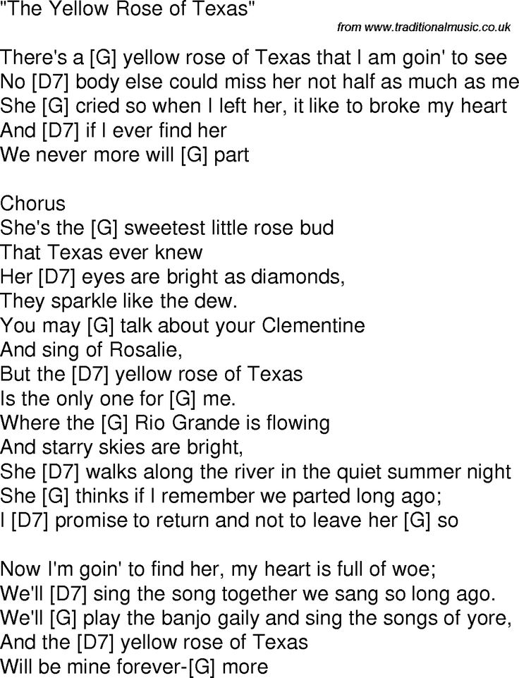 Old time song lyrics with chords for Yellow Rose Of Texas G | Guitar Oldies