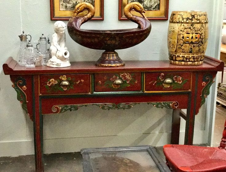 "Antique Asian Buffet or Sofa Table On Sale   72"" Wide x 16"" Deep x 36.5"" High   Was $899 Sale Price $725  Treasured and collected antiques for your home.  My Treasured Antiques Dealer #2612  White Elephant Antiques, Dallas 1026 N. Riverfront Blvd. Dallas, TX 75207"