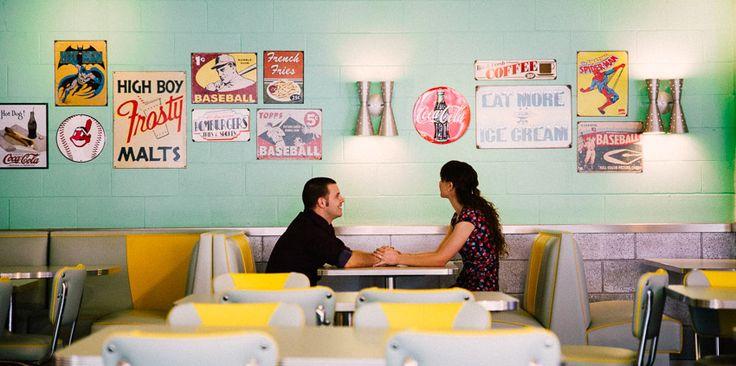 Retro Diner & Vintage Picnic Engagement Session! http://tailoredfitphotography.com/engagement-photography/retro-engagement-photos-60s-skylight-drive-in-nurrangingy-reserve-blacktown/