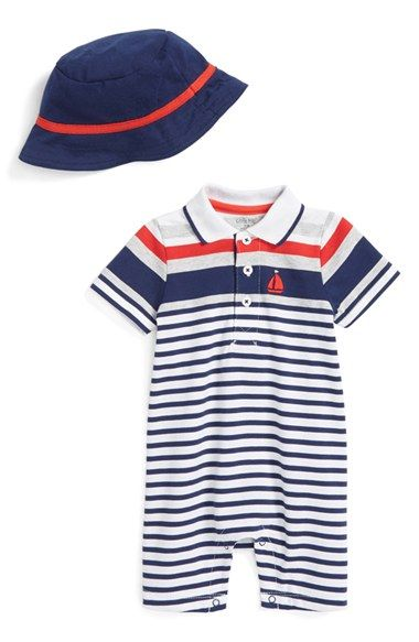 Little Me Stripe Romper & Hat (Baby Boys) available at #Nordstrom
