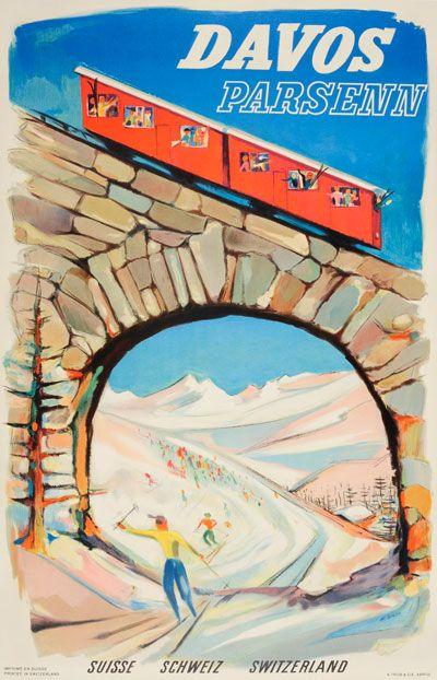 Vintage poster: Orignal vintage poster: Davos Parsenn Switzerland for sale at posterteam.com by Borer, Albert (1910-2004)