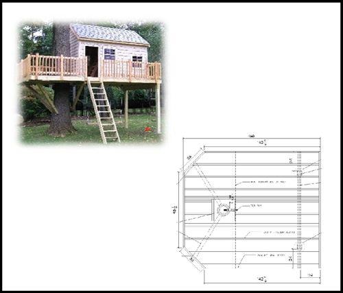 14' x 12' Rectangular Treehouse Plan | Standard Treehouse Plans & Attach...