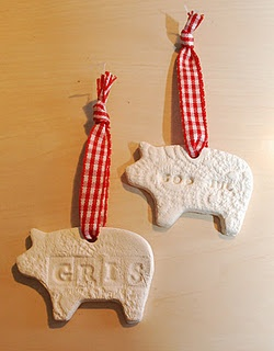 Christmas pigs in clay