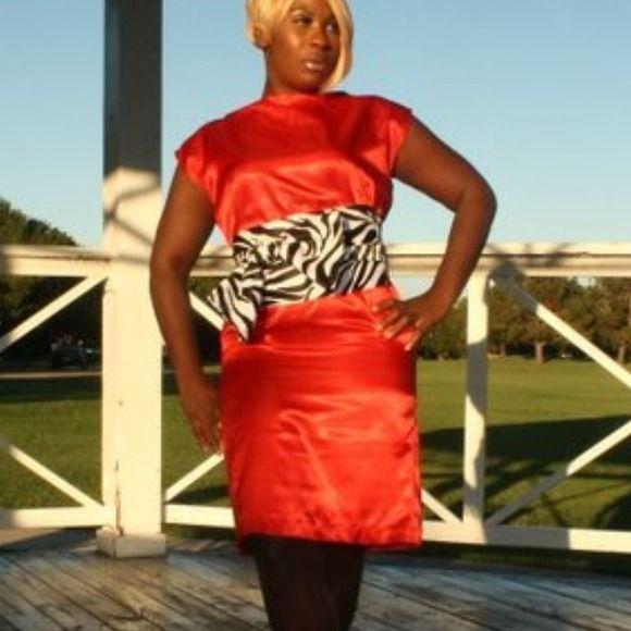 Custom pencil dress with high neckline Custom pencil dress with high neckline with wide scarf-belt. Stretch Satin fabric Isy Fashion Dresses