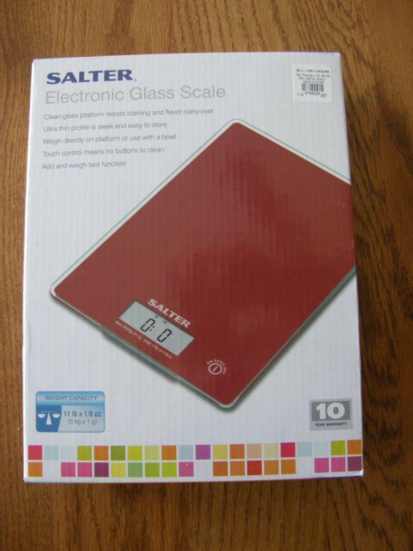 Salter electrónica Ultra Delgado De Vidrio Rojo Balanza de Cocina-hasta 11 kilos-nuevo-alimentos