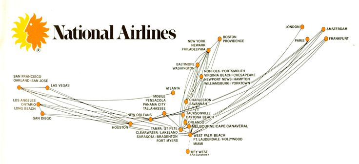 It is not clear though that National Airlines ever implemented its line from New Orleans despite some promotion materials. Description from nolafrancaise.com. I searched for this on bing.com/images