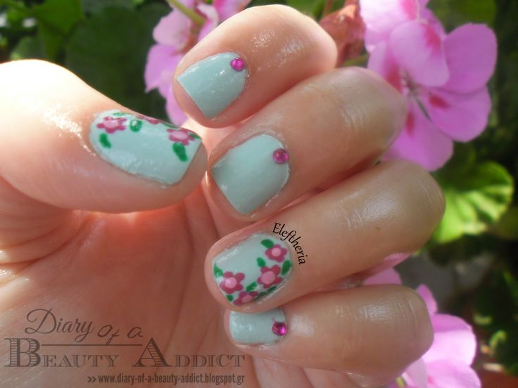 Simply Nails ▎❝Mint with Flowers❞