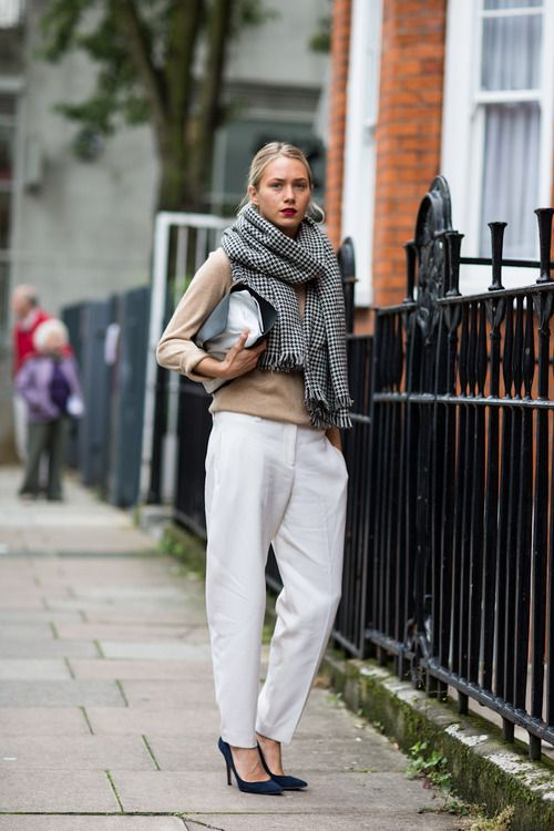 Chic girl Love it, personally I love black sweaters on white trousers, grey will work too, the shawl is perfect.
