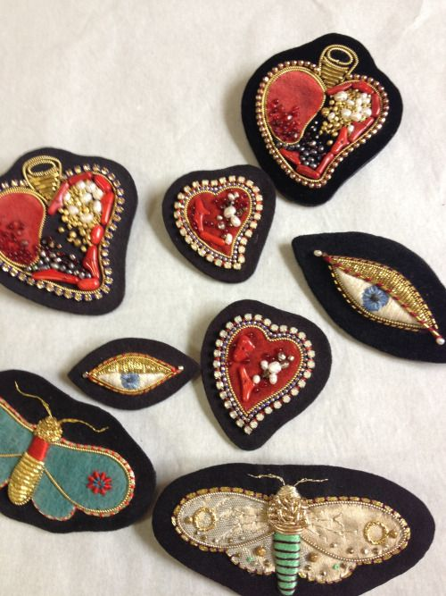 moth and heart brooches  embroidery  2013 ©Azumi Sakata