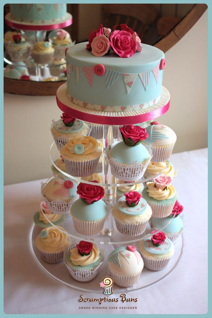Rose & Bunting Wedding Cupcake Tower